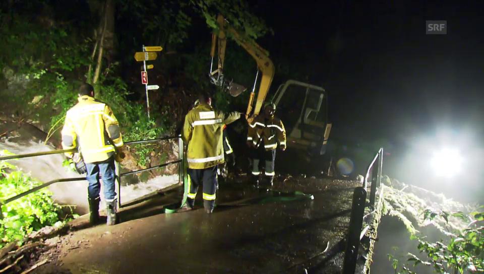 Feuerwehr-Einatz in Quarten/SG: Brücke am Talbach nach Gewitter blockiert (unkomm.)