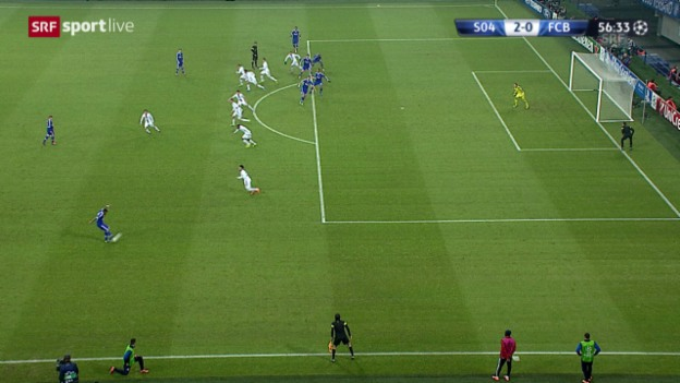 Video «Fussball: Champions League, Schalke - Basel: Joel Matips Abseitstor («sportlive», 11.12.2013)» abspielen
