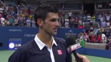 Video «Tennis: US Open 2015, Männer-Viertelfinal, Interview mit Novak Djokovic» abspielen