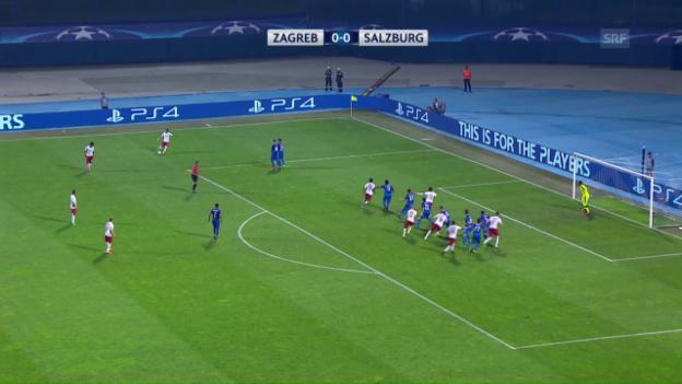 Video «Salzburg gelingt Auswärtstor gegen Zagreb» abspielen
