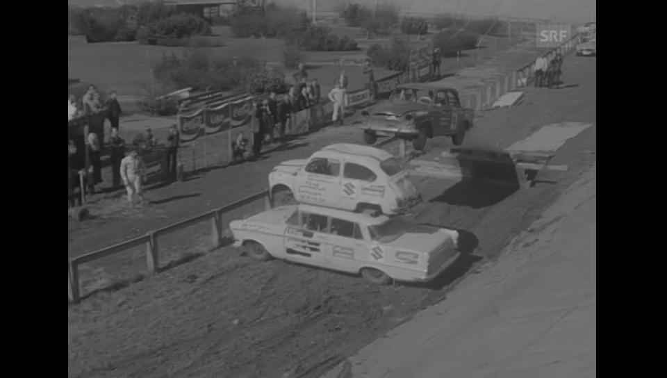 1972: Stunt-Show auf der offenen Rennbahn Oerlikon