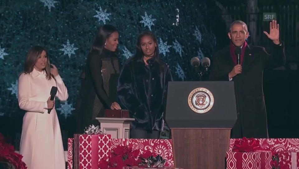 Obama lässt den Weihnachtsbaum erleuchten