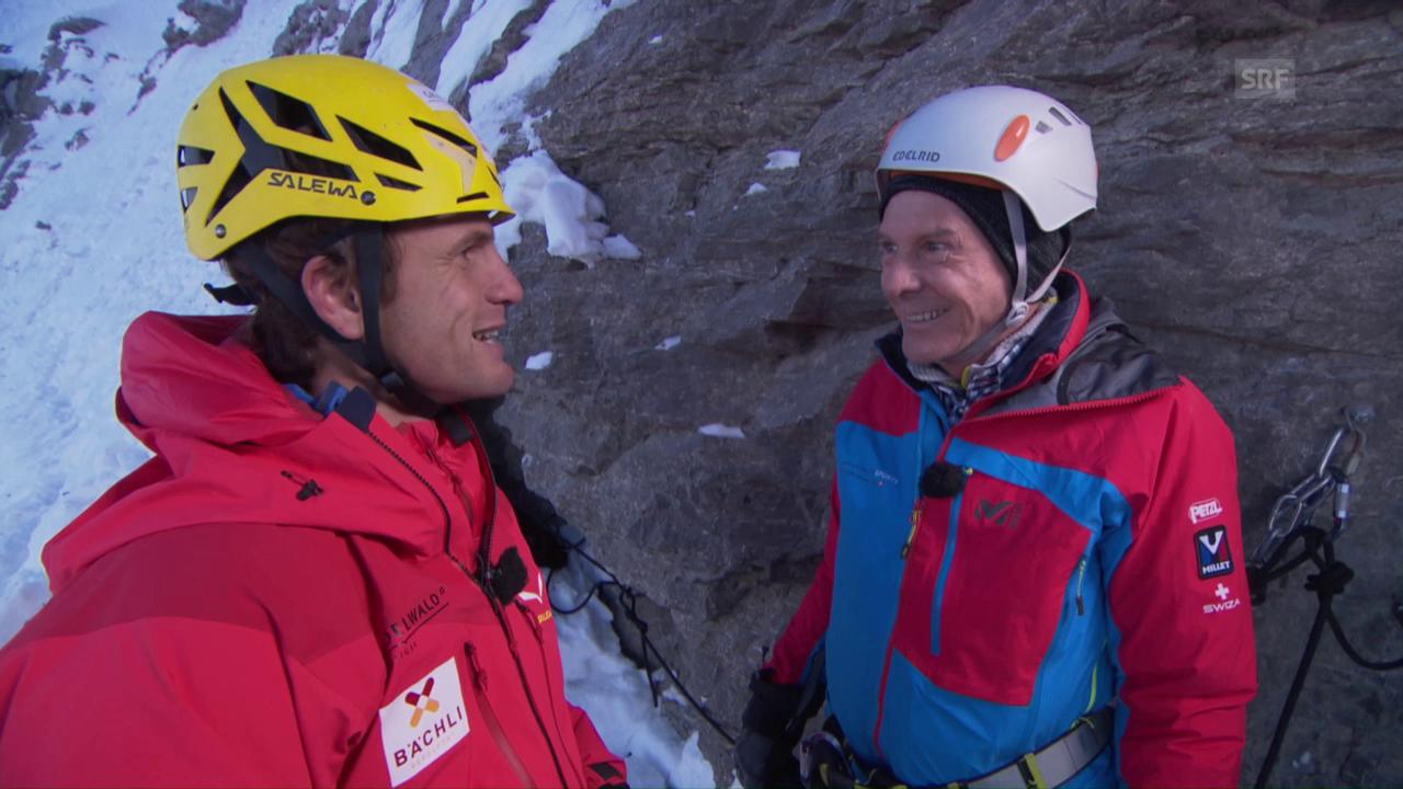 Kurt Aeschbacher mit Roger Schäli in der Eigernordwand