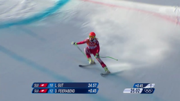 Video «Ski: Kombi-Abfahrt Frauen, Fahrt Denise Feierabend (sotschi direkt, 10.02.2014)» abspielen