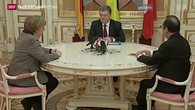 Video «Merkel und Hollande treffen Putin» abspielen