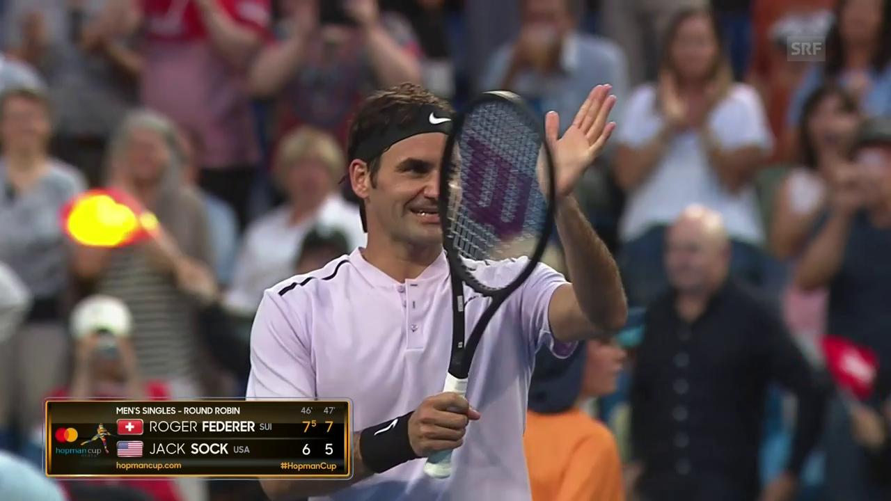 Federer schlägt auch Sock