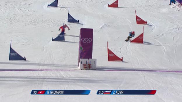Video «Snowboard: Parallel-Slalom Männer, das Ausscheiden von Nevin Galmarini im Viertelfinal (sotschi direkt, 22.2.2014)» abspielen