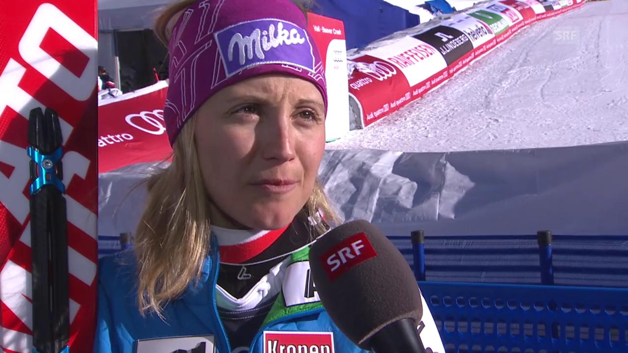 Ski alpin: WM 2015 in Vail/Beaver Creek, Super-Kombi Frauen, Interview mit Michaela Kirchgasser