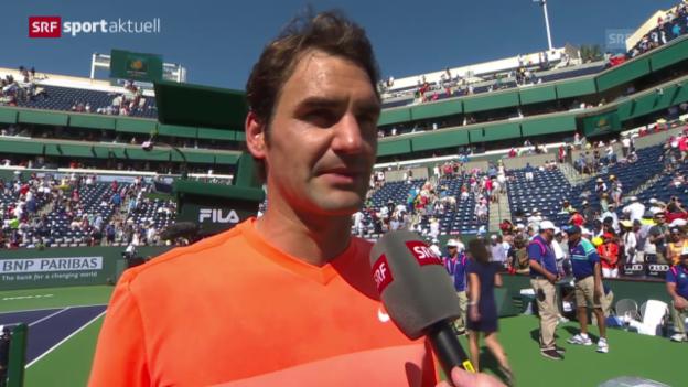 Video «Tennis: ATP 1000 in Indian Wells, Siegerinterview mit Roger Federer («sportaktuell»)» abspielen
