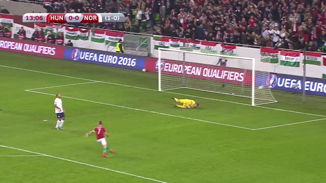 Fussball: EURO-Barrage, Ungarn - Norwegen, das herrliche Tor von Tamas Priskin zum 1:0