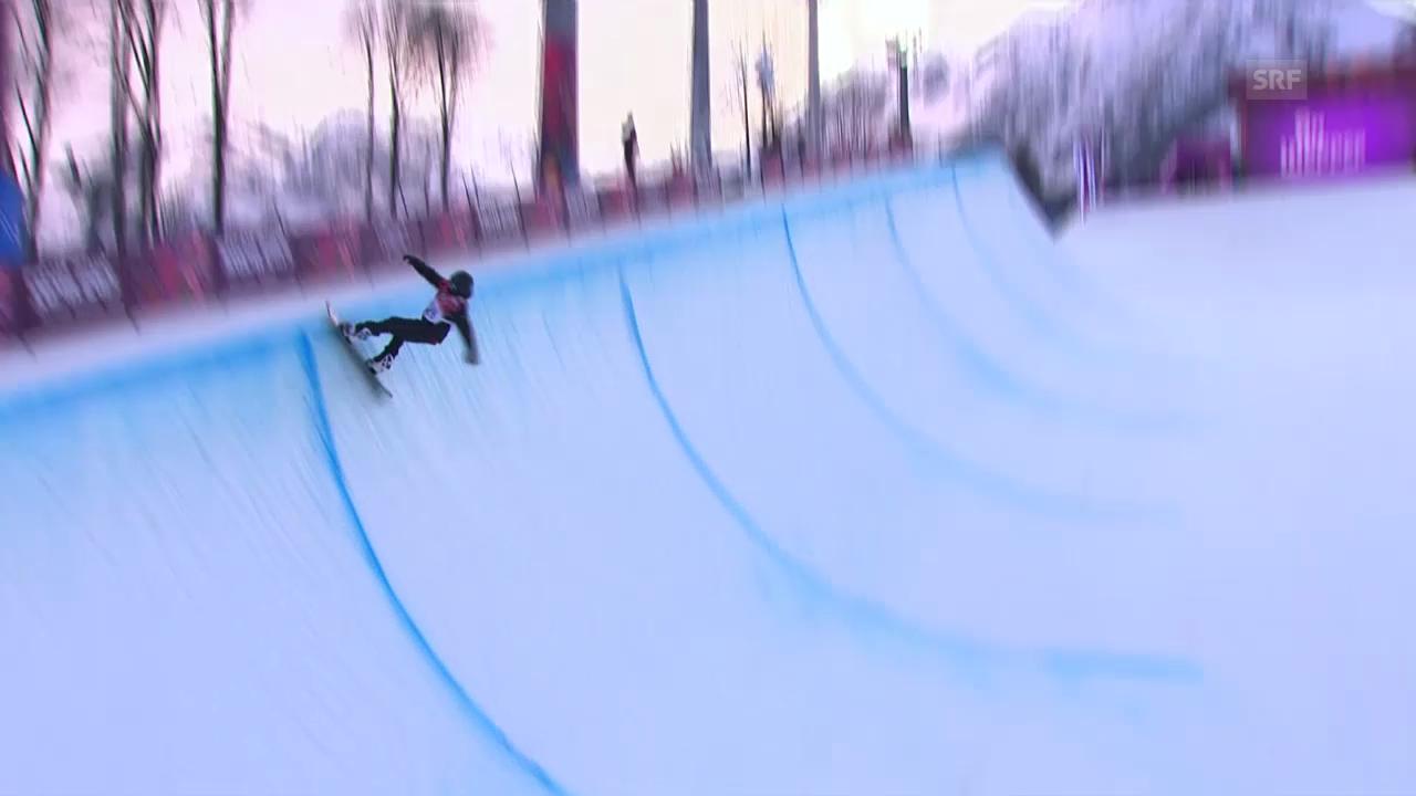 Snowboard: Halfpipe Männer, Quali, 2. Run Jan Scherrer (sotschi direkt, 11.2.2014)