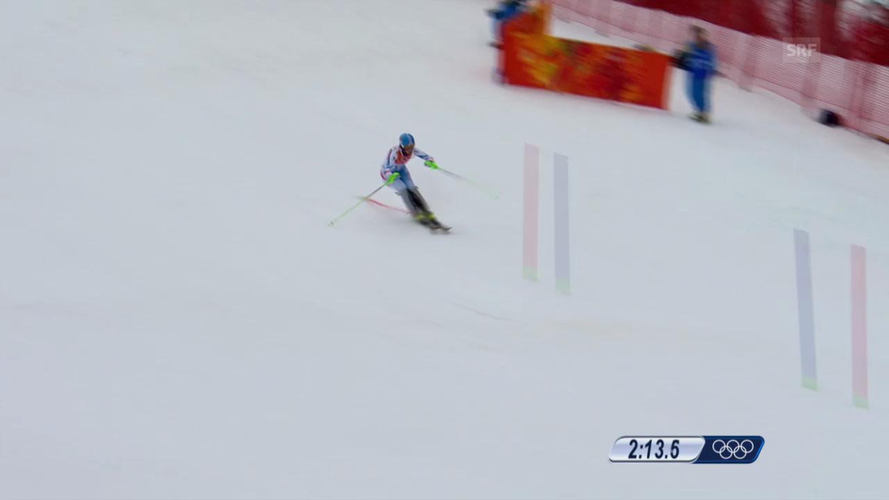 Ski: Kombi-Slalom Frauen, Fahrt Nicole Hosp (sotschi direkt, 10.2.2014)