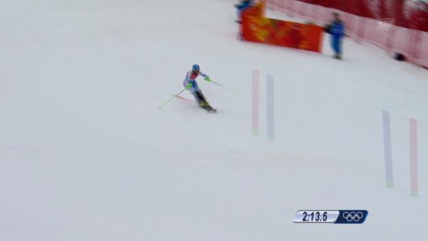 Video «Ski: Kombi-Slalom Frauen, Fahrt Nicole Hosp (sotschi direkt, 10.2.2014)» abspielen