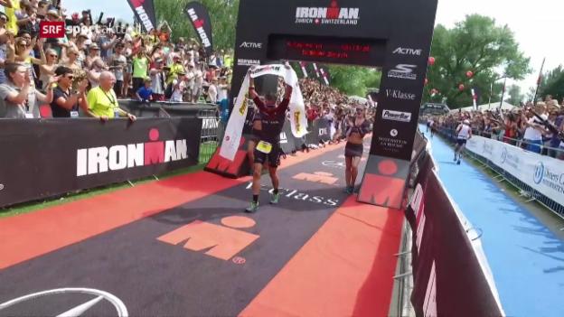 Video «Australischer Spielverderber am Ironman Switzerland» abspielen