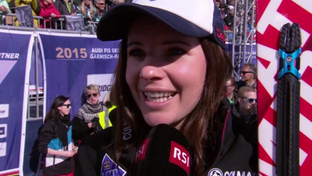 Video «Ski alpin: Weltcup der Frauen, Abfahrt in Garmisch-Partenkirchen, Siegerin Tina Weirather im Interview» abspielen