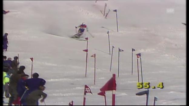 Video «Ski-WM 1991: Vreni Schneider holt Slalom-Gold» abspielen