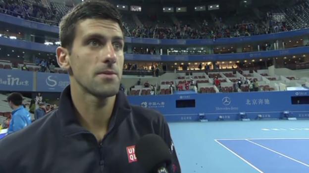 Video «Tennis: ATP Peking, Djokovic-Berdych, Satzbälle» abspielen