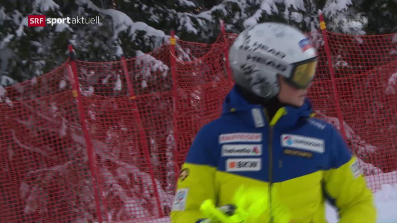 Corinne Suter vor der Abfahrt in Garmisch