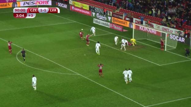 Video «Fussball: EM-Qualifikation, Gruppe A, Tschechien - Lettland» abspielen