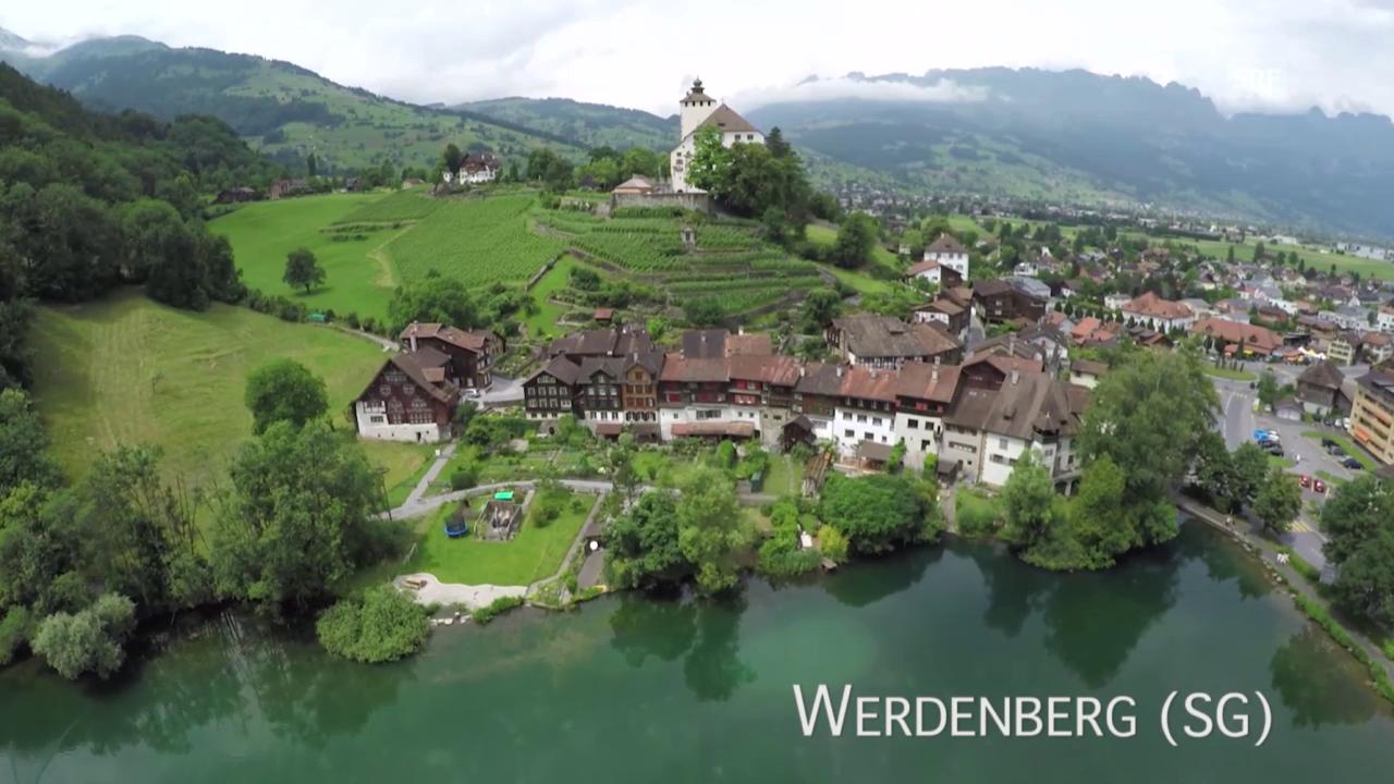 Werdenberg (SG) aus der Luft