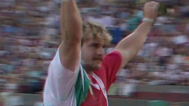 Video «Leichtathletik: WM 1993 in Stuttgart, Kugelstossen, Werner Günthör» abspielen