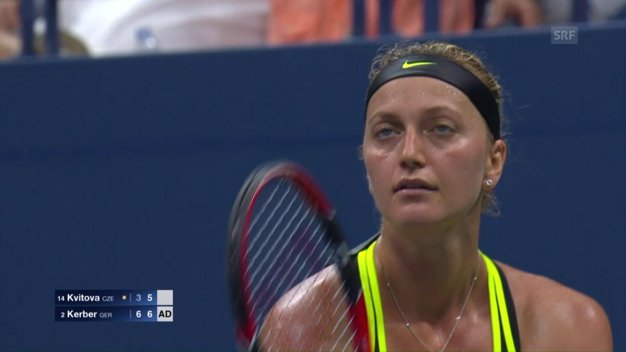 Kvitova serviert beim Matchball einen Doppelfehler