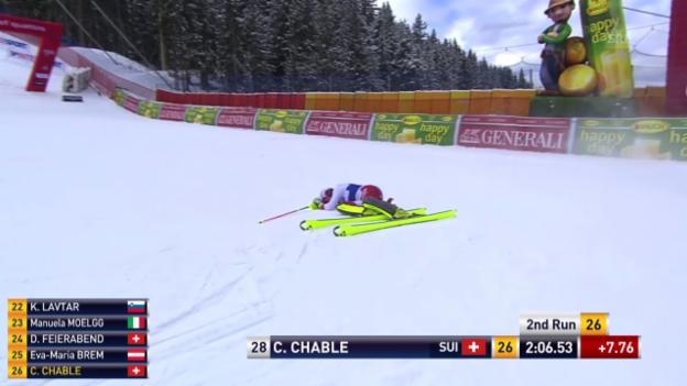 Video «Ski: Slalom Frauen, Santa Caterina, 2. Lauf Charlotte Chable, Ausfall» abspielen