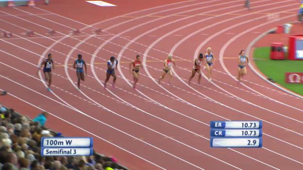 Video «Leichtathletik-EM: Halbfinal 100 Meter mit Kambundji» abspielen
