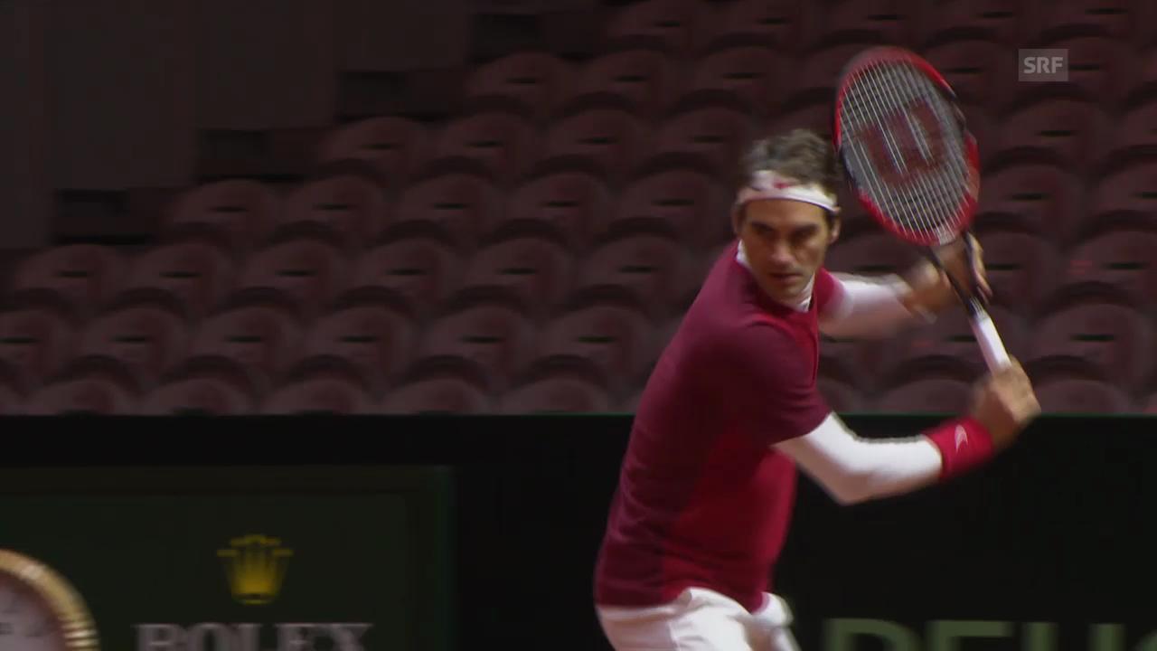 Tennis: Roger Federers zweite Trainingseinheit (unkommentiert)