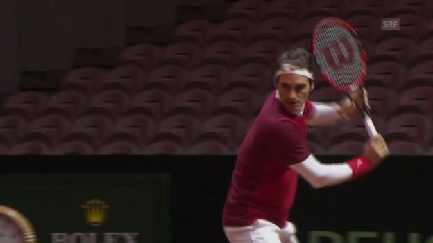 Video «Tennis: Roger Federers zweite Trainingseinheit (unkommentiert)» abspielen