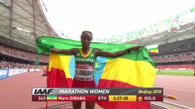 Video «Leichtathletik-WM: Marathon, Dibaba siegt im Schlussspurt» abspielen