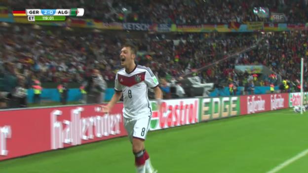 Video «WM 2014: Özil erzielt das 2:0 gegen Algerien» abspielen