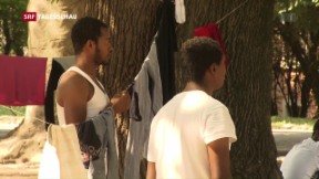 Video «Gestrandete Migranten in Como» abspielen