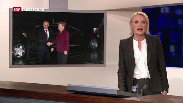 Video «Treffen unter schwierigen Vorzeichen: Putin bei Merkel» abspielen