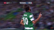 Video «Sporting schlägt Legia mit 2:0» abspielen