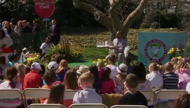 Video «Angriff der Honigbienen auf Obamas Märchenstunde» abspielen