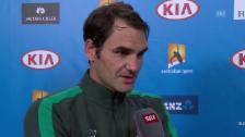 Video «Roger Federer zeigt sich sehr zufrieden nach dem Sieg gegen Goffin» abspielen
