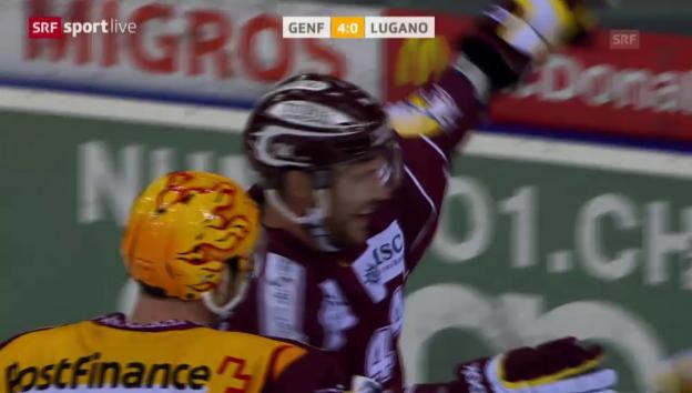 Video «Eishockey: Playoff-Viertelfinal, Genf-Lugano, Tor Taylor Pyatt zum 4:0» abspielen