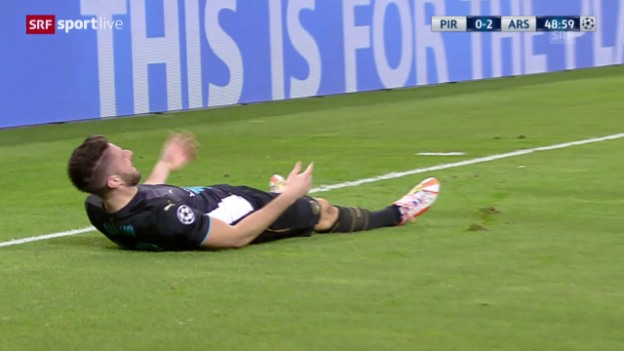 Video «Fussball: Champions League, Gruppenphase, 6. Spieltag, Olympiakos - Arsenal, das 2:0 durch Giroud» abspielen
