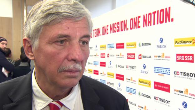 Video «Eishockey: «Wir haben uns nicht gefunden.» Verbandspräsident Marc Furrer über die Vertragsverhandlungen mit Simpson. (3.3.2014)» abspielen