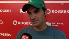 Video «Tennis: Federer vor dem Final gegen Tsonga» abspielen