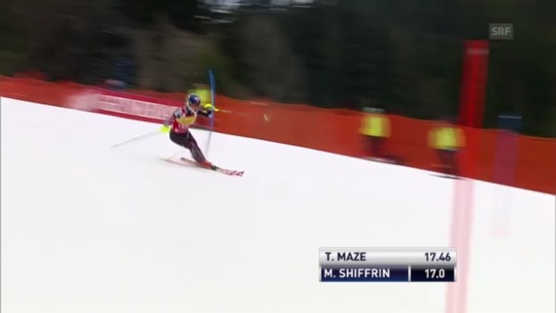 Video «SL Ofterschwang: 1. Lauf Shiffrin» abspielen