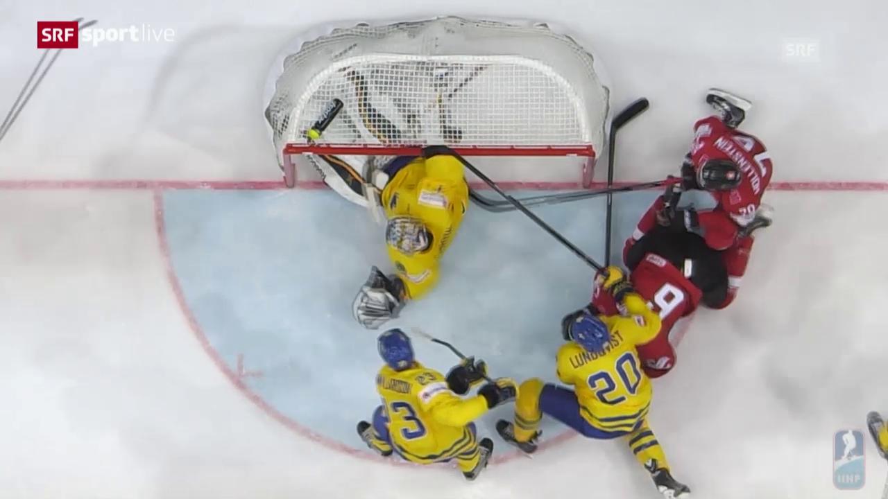 Eishockey: WM 2015 in Prag, Schweiz - Schweden, vermeintlicher Ausgleich von Streit zählt nicht