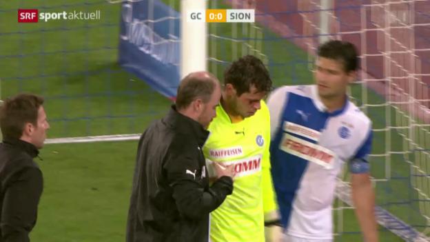 Video «Fussball: GC-Goalie Davari verletzt sich» abspielen