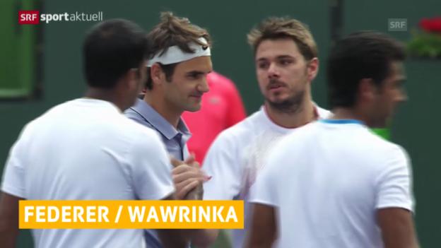 Video «Federer und Wawrinka siegen im Doppel («sportaktuell», 08.03.14)» abspielen