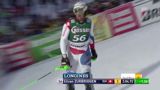 Video «Ski alpin: Super-Kombi in Kitzbühel, Slalom-Lauf von Silvan Zurbriggen» abspielen