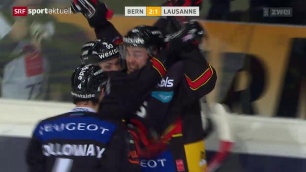 Video «Eishockey: Playoff-Viertelfinals, Spiel 7 SCB - Lausanne, Tor Joensuu» abspielen