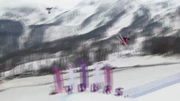 Video «Freestyle Ski: Slopestyle Frauen, 1. Final-Run Devin Logan (sotschi direkt, 11.02.2014)» abspielen