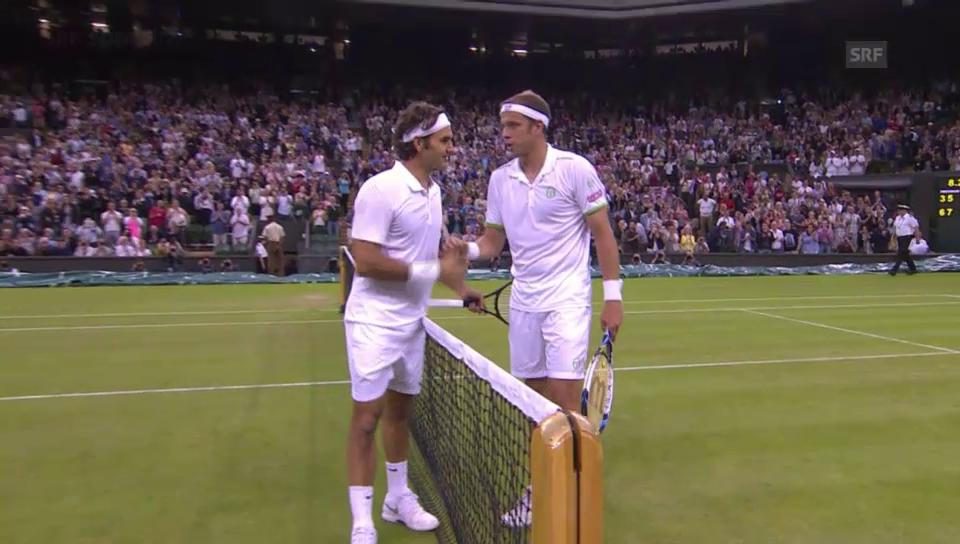 Tennis: 2. Runde Wimbledon: Zusammenfassung Federer - Muller