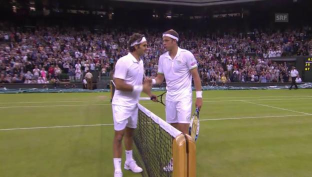Video «Tennis: 2. Runde Wimbledon: Zusammenfassung Federer - Muller» abspielen
